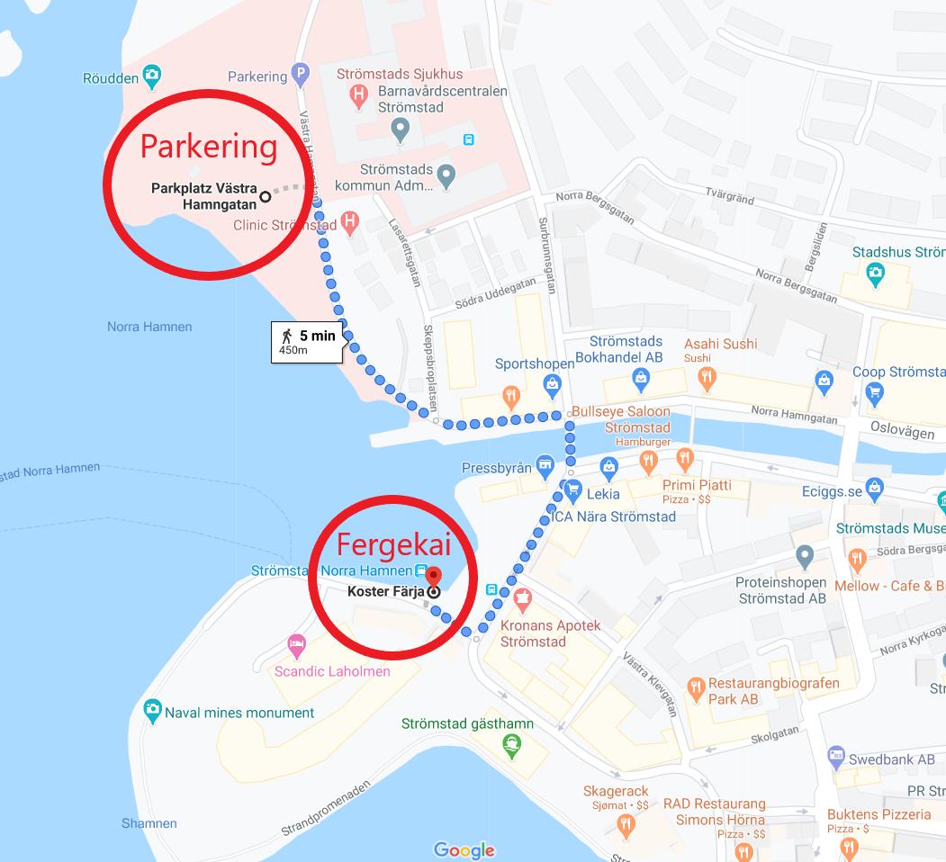 Parkering og fergekai i Strømstad